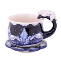 Чайная пара Кошка Гжель