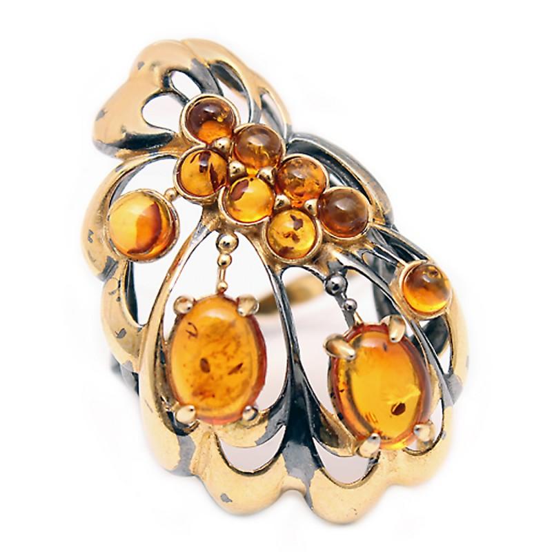 820972 Кольцо Ag925 янтарь р/п (7,63) кольцо шедевр им янтарь