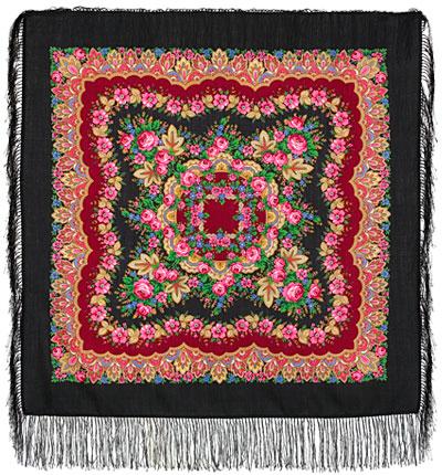 Павловопосадский платок шерстяной с шелковой бахромой Романтика, 89x89 см