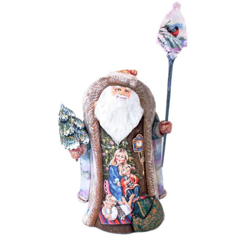 Скульптура из дер.Дед Мороз с елкой 42см