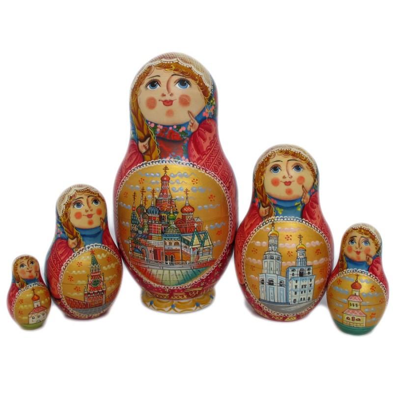 """Матрешка 5 мест """"Москва"""" 22см от Наследие"""