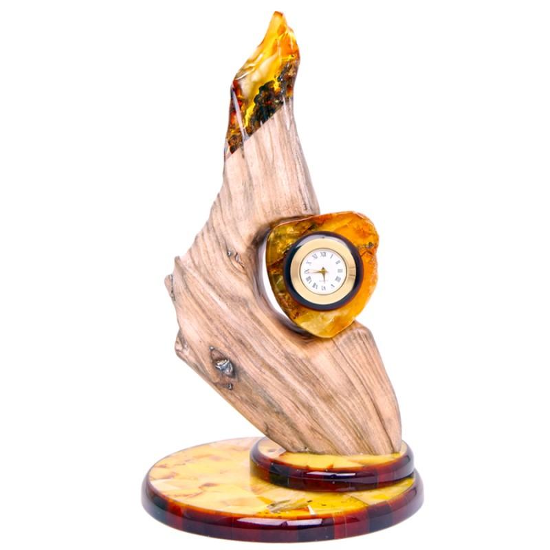 Часы (янтарь в дереве)