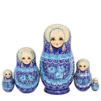Россия Матрешка Цветы синяя 5 мест 9