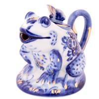 Россия Чайник сувенирный в золоте Лягушка Гжель