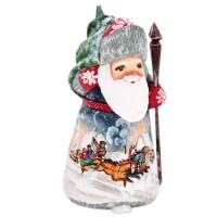 скульптура из дерева Дед мороз рисунок тройка украшение новогоднее оконное magic time дед мороз с самоваром двустороннее 30 х 32 см