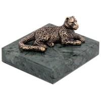 скульптура Лежащий снежный барс на подставке (бронза) тигр лежащий t2021k o