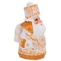 """скульптура из дерева """"Дед мороз"""" цвет оранж."""