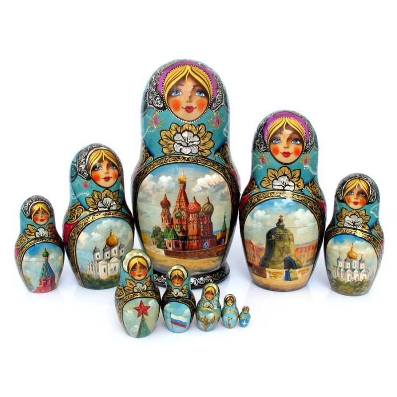 """Матрешка 10 мест """"Москва"""" от Наследие"""