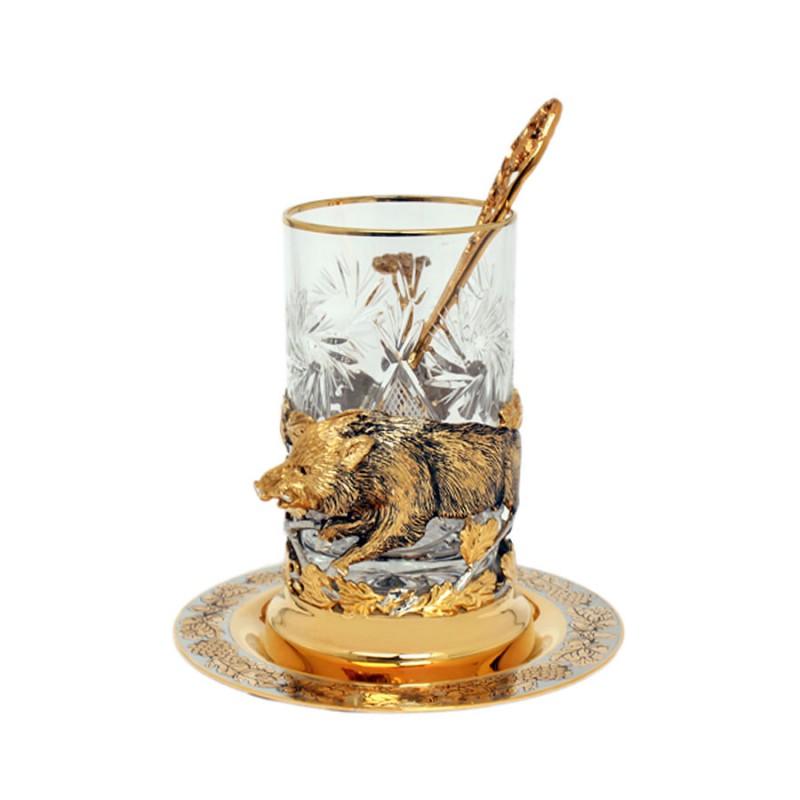 Набор чайный литье (Кабан) ложка, тарелка, хрусталь