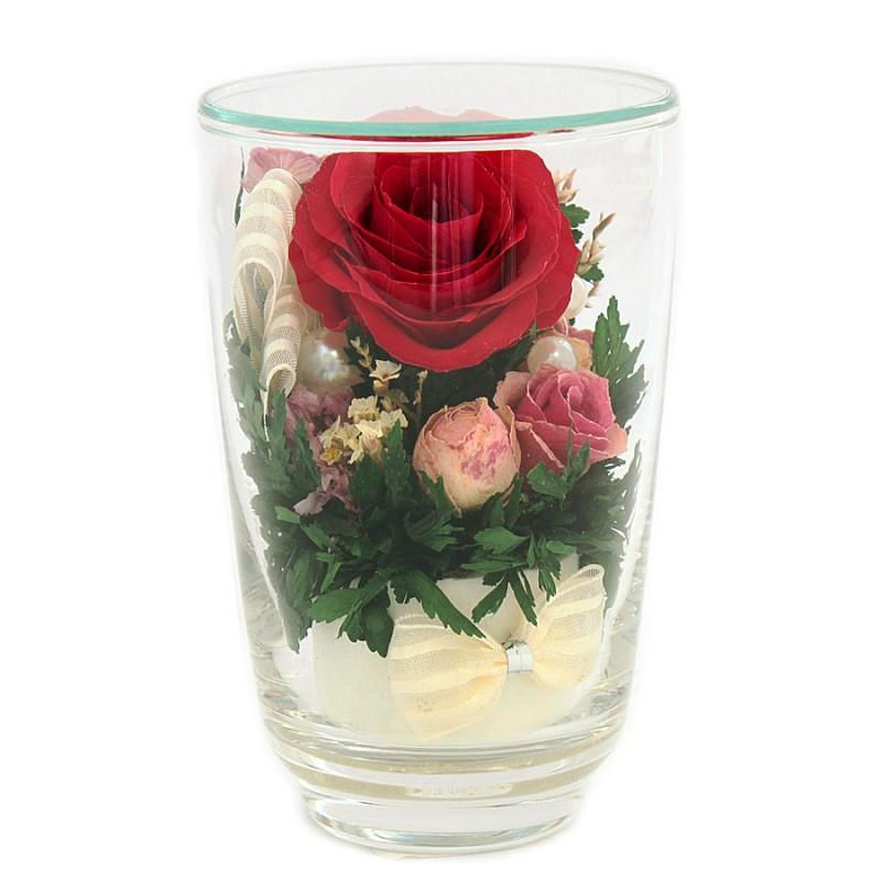 Красная роза в высоком стакане (живые цветы в стекле) живые цветы в вакууме купить в саратове