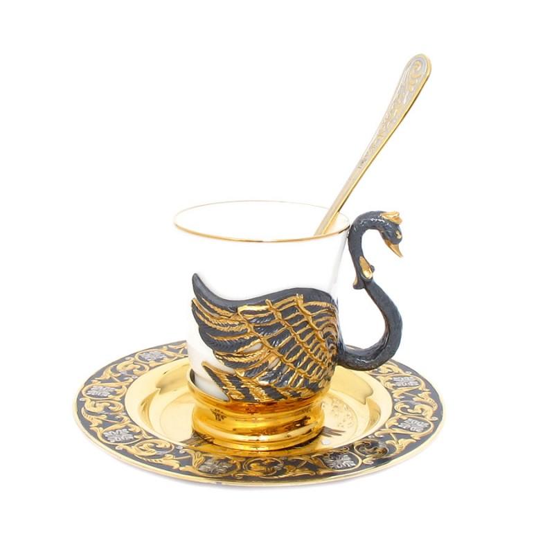 Коф.Лебедь чашка,ложка,блюдце(фарфор)