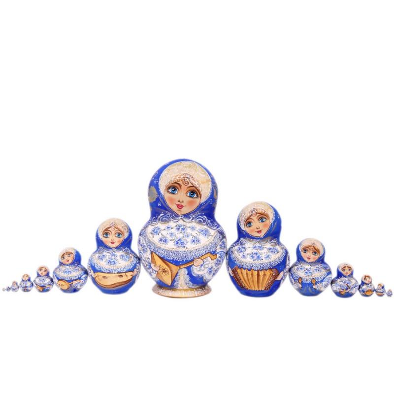 Россия Матрешка 15 мест с Музыкальным инструментом матрешка 15 мест дымковская миронова 35см