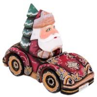 скульптура из дерева Дед мороз в автомобиле украшение новогоднее оконное magic time дед мороз с самоваром двустороннее 30 х 32 см