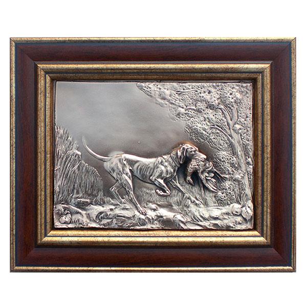 """11-056 Картина из металла """"Собака с тетеревом"""" от Наследие"""