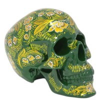 скульптура Череп хохлома (роспись зеленый фон) каска хохлома роспись черный фон