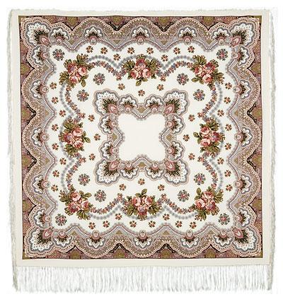 Павловопосадский платок шерстяной с шелковой бахромой Журавушка, 125х125 см