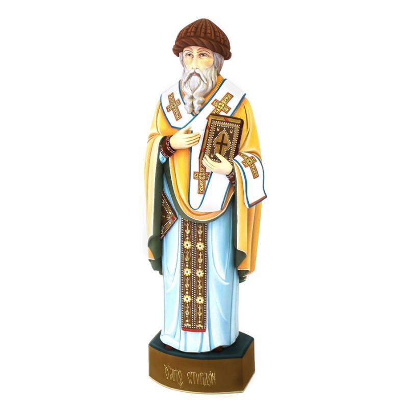 Скульптура из дерева Спиридон Тримифунтский авт. Михайловы (h=32см) коллектив авторов святитель спиридон епископ тримифунтский чудотворец акафист житие чудеса