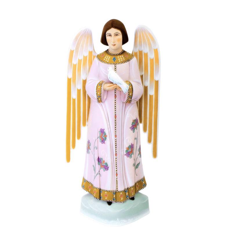 Скульптура из дерева Ангел с веткой (голубой) авт. Михайловы (h=24см) сказки дерева подвеска ангел на луне