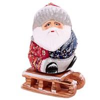 """Скульптура из дерева """"Дед мороз на санках"""" 2623"""