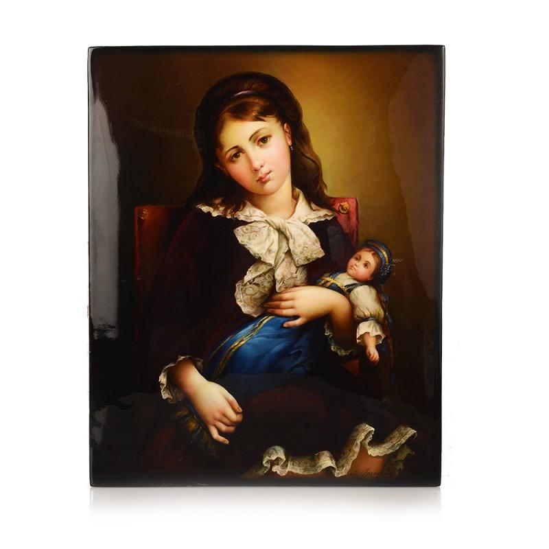 """Плакетка """"Девочка с куклой"""" от Наследие"""