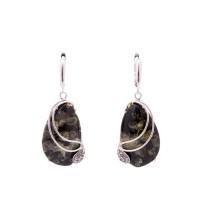 Серьги янтарные (серебро 925, кристаллы Сваровски)