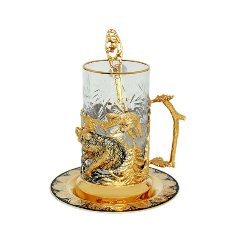 Набор чайный литье (Медведи) ложка, тарелка, хрусталь 683 подстаканник стакан ложка кабошоны сапфирин