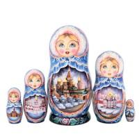 Матрешка Москва. Зима. 5 мест