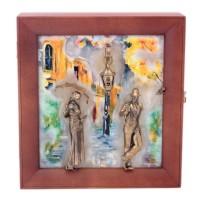 Ключница настенная Девушка с парнем рисованная на камне бронза