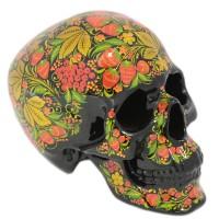 скульптура череп хохлома (роспись клубника) каска хохлома роспись черный фон