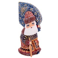 "скульптура из дерева ""Дед мороз"" синий мешок с подарками"
