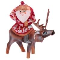 "Скульптура из дерева ""Дед мороз на олене"" 2624"