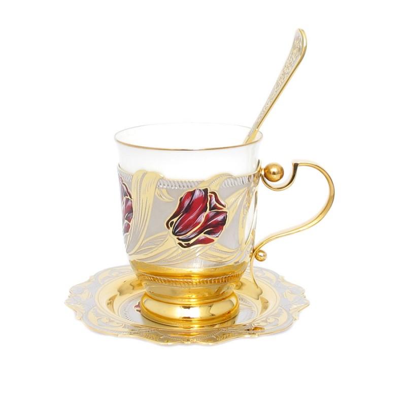 349 Н-р Тюльпан чашка,ложка,блюдце(эмаль,фарфор)