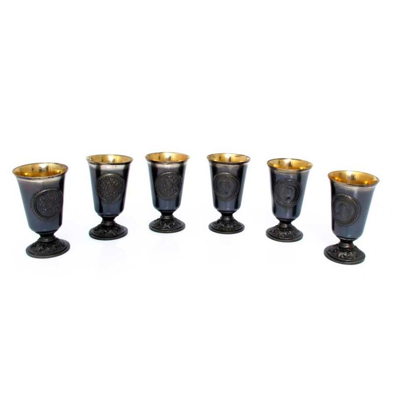 Россия Набор из 6 стопок столовое серебро аргента набор стопок подарочная 6 предметов пр 925 футляр