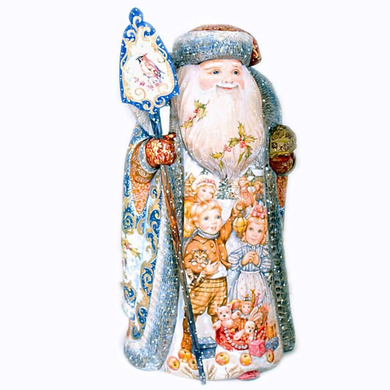 "Скульптура из дерева ""Дед Мороз со шкатулкой"" 42см"