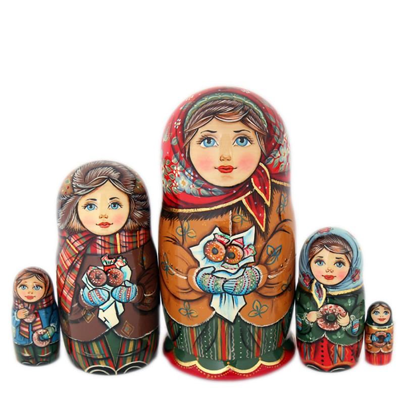 Матрешка 5 мест Конфетки-бараночки 16см костюм снегурочки конфетки 40 44