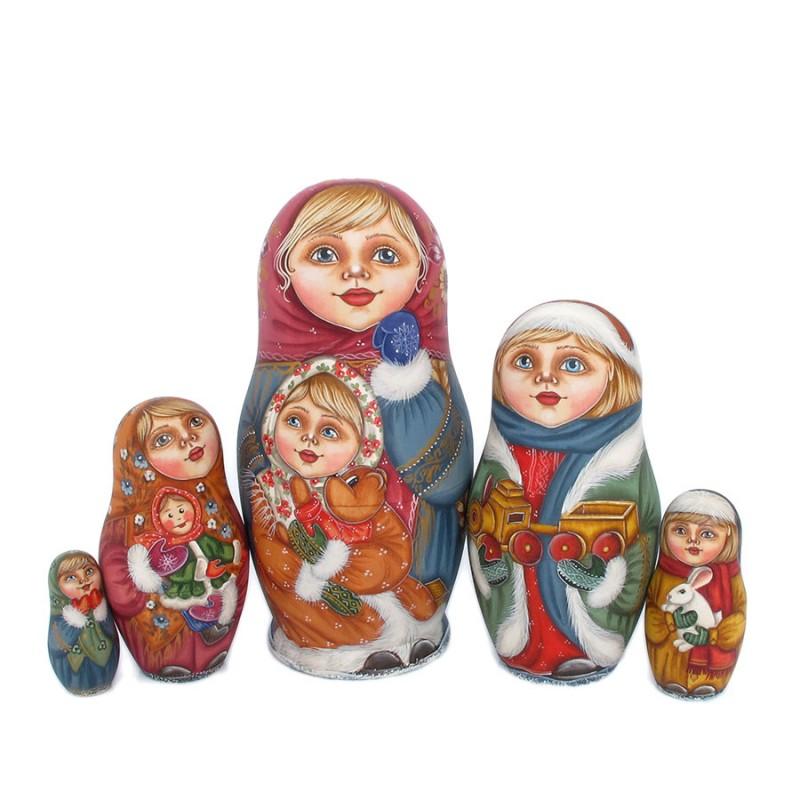 Россия Матрешка 5 мест Семейка авт. Иванова 17см