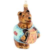 """ёлочная игрушка """"медведь с гармошкой"""""""
