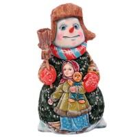 Скульптура из дерева Снеговик с метлой скульптура снеговик клоун