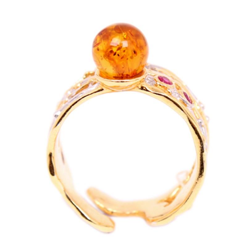 820952 Кольцо Ag925 янтарь/фианит р/п (5,31) кольцо au585 вст янтарь 5 32
