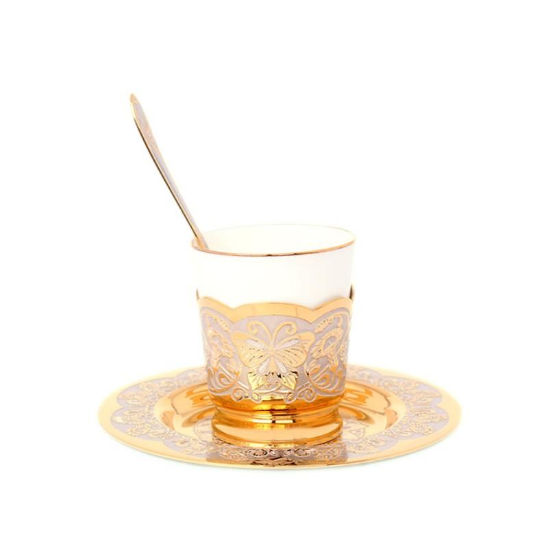 55 Кофейный малый чашка, ложка, блюдце (фарфор)