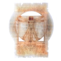 "Картина на ониксе ""Витрувианский человек"" рисованная"