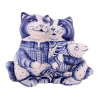 Россия Скульптура Коты-парочка Гжель