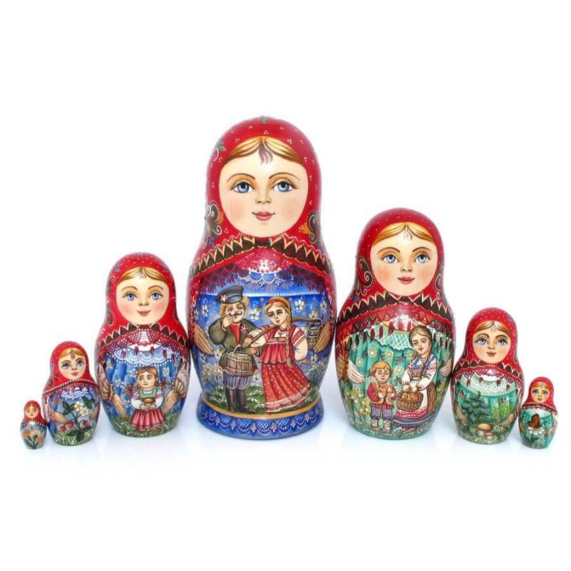 Россия Матрешка 7 мест Девушка матрешка 7 мест грибы миронова 25см