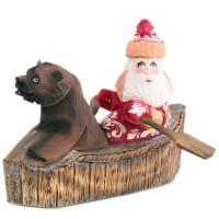скульптура Дед мороз в лодке с медведем russia made фигурка дед мороз с медведем резной 22см