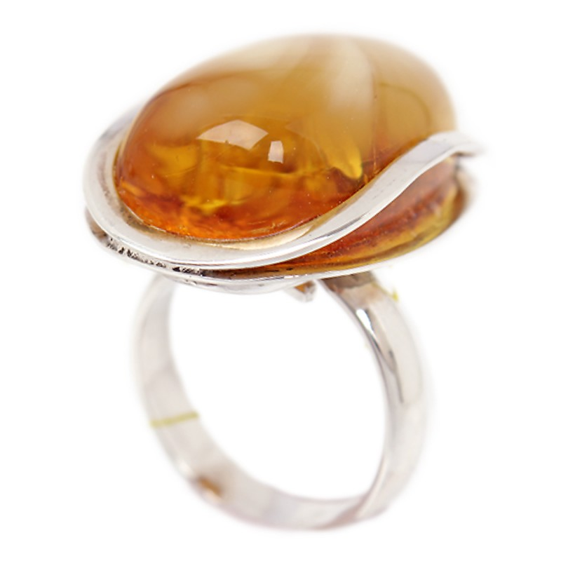 Кольцо янтарное (серебро 925)