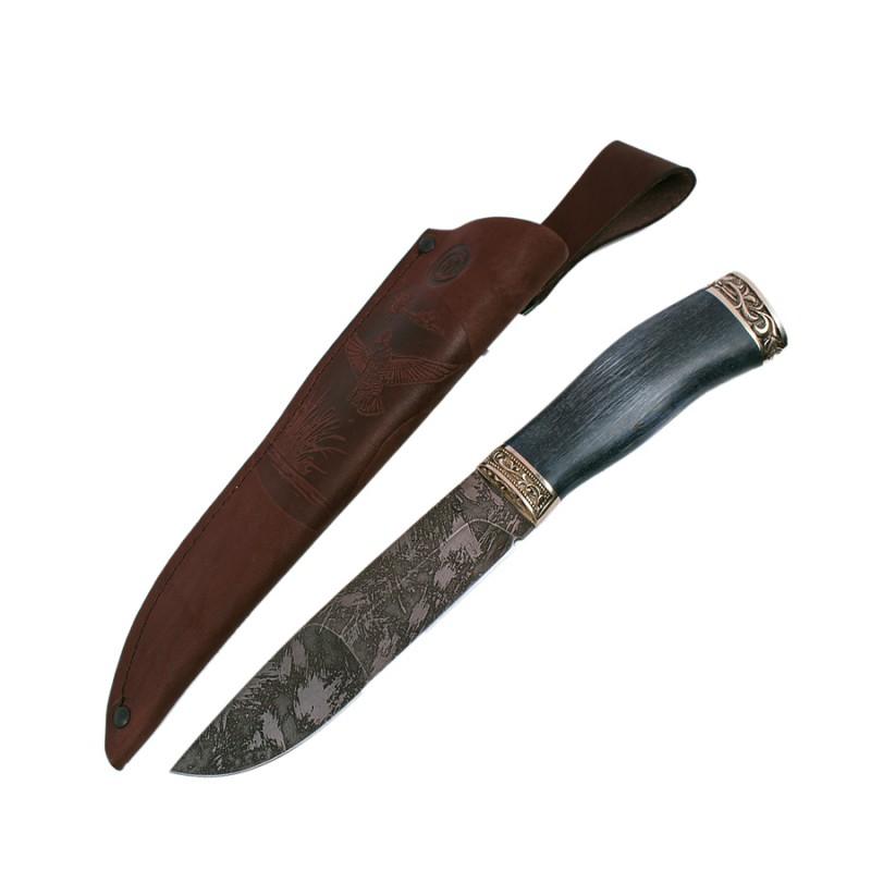 Нож Путник дам.ст.,литье,рукоять из стабил.карельск.березы