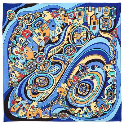 Павловопосадский платок шелковый (атлас) Солнечный город, 89x89 см самокат книга мизелиньская мизелиньский город гляделкин 3000 0