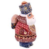 Скульптура из дерева Дед мороз портфель украшение новогоднее оконное magic time дед мороз с самоваром двустороннее 30 х 32 см