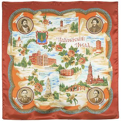 Павловопосадский платок шелковый (атлас) Павловский , 89x89 см