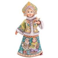 Россия Скульптура из дерева Снегурочка с птичкой парочка россия ёлочная игрушка снегурочка морозные узоры